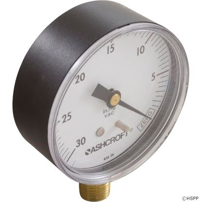 "Vacuum Gauge, 1/4""mpt, 0-30 in.Hg, Bottom Mount, Generic"