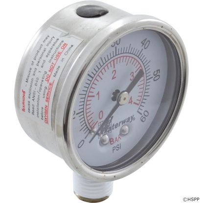 "Pressure Gauge, Waterway, 1/4""mpt, 0-60psi, Bottom Mount"